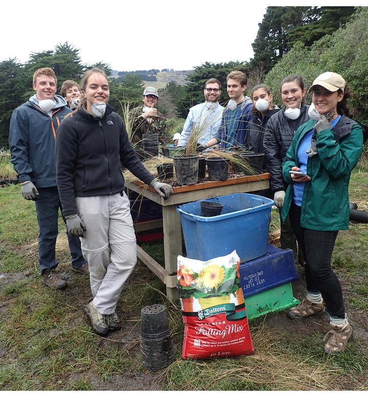 Students on Quail Island support planting