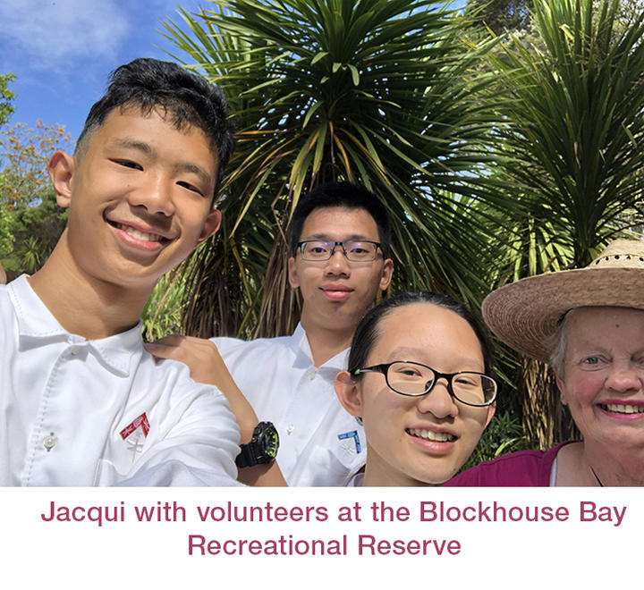 Jacqui with volunteers at the Blockhouse Bay Recreational Reserve
